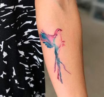 Красивая птица в стиле акварель на предплечье