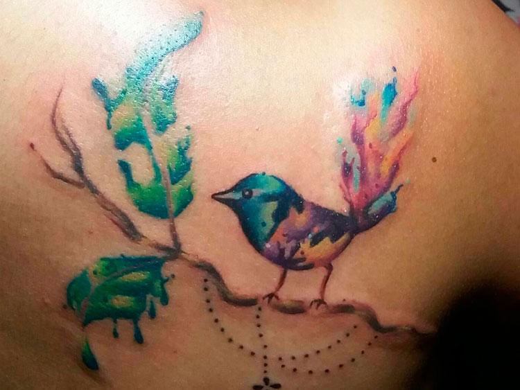 Птичка на ветке в стиле акварель