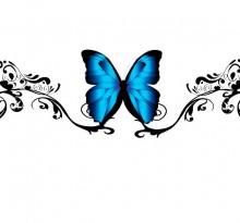 Эскиз татуировки синей бабочки на пояснице