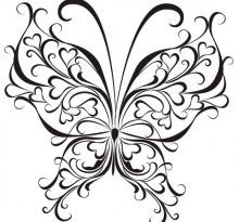 Витиеватый эскиз татуировки бабочки