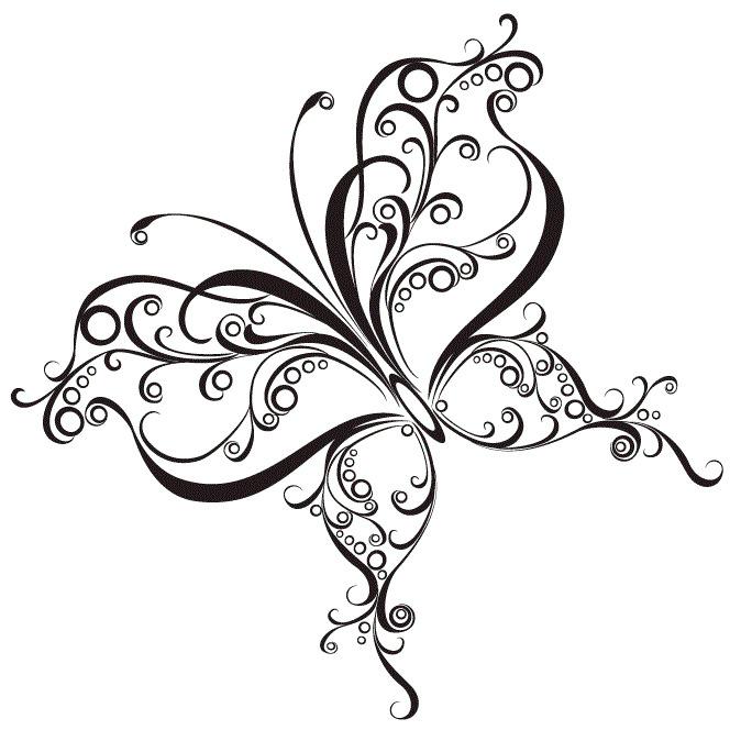 Витиеватый эскиз татуировки бабочки (2)