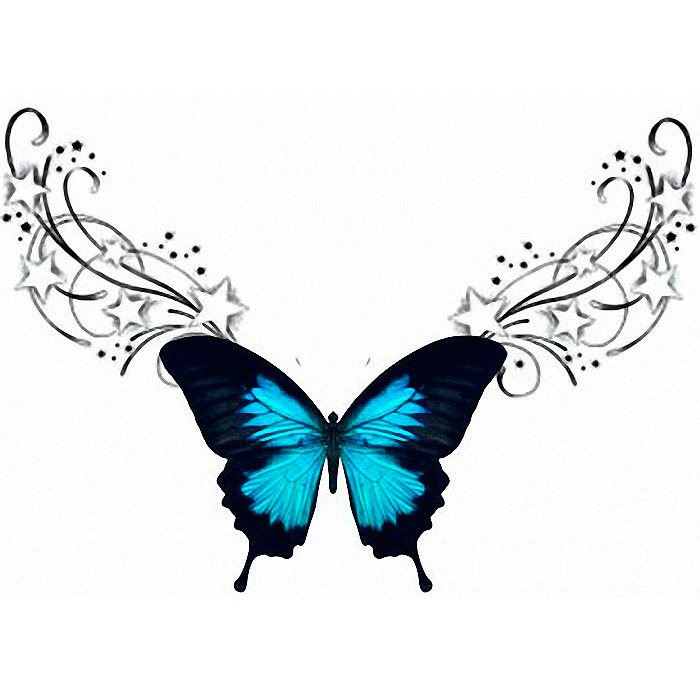 Эскиз бабочки со звездами на пояснице