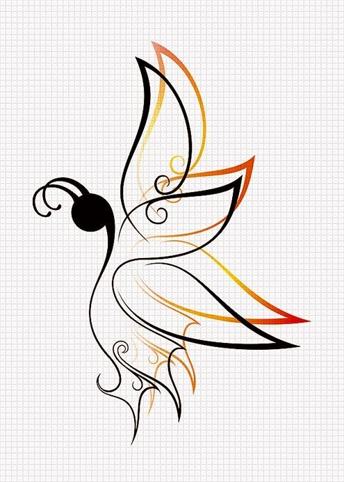 Минималистичный эскиз татуировки бабочки