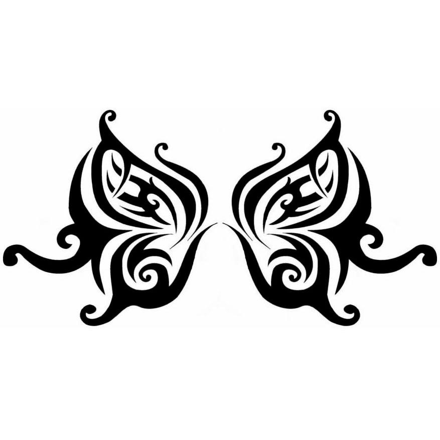 Черный эскиз татуировки бабочки для поясницы