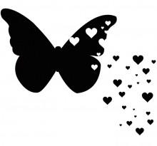 Эскиз татуировки бабочки с сердечками
