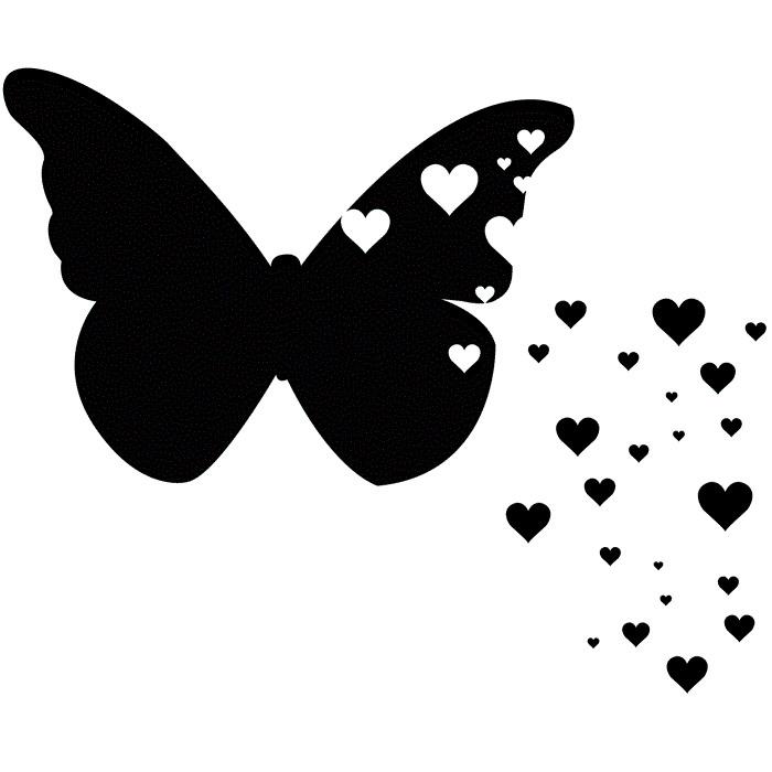 Тату бабочка черная эскиз