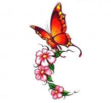 Эскиз оранжевой бабочки с цветами