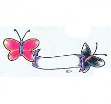 Две бабочки и лента для надписи