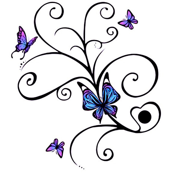 Эскиз татуировки бабочки (7)
