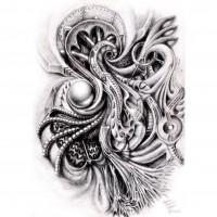 Биомеханический эскиз татуировки