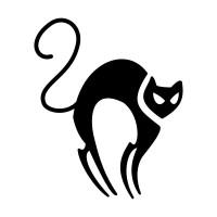Черный эскиз тату кошки