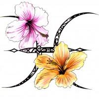 Цветной эскиз в виде символа Близнецов и лилий