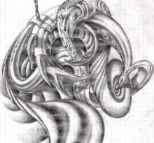 Эскиз биомеханической тату