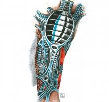 Эскиз биомеханической татуировки на руку