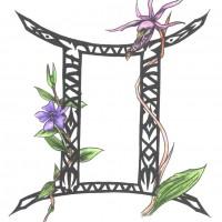 Эскиз Близнецов с цветами