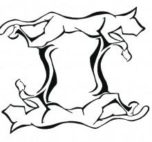 Эскиз Близнецов в виде абстрактных животных