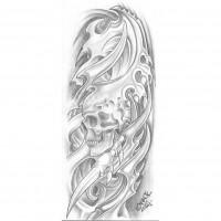 Эскиз татуировки с черепом в стиле биомеханика