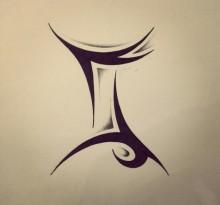 Эскиз трайбл татуировки Близнецы