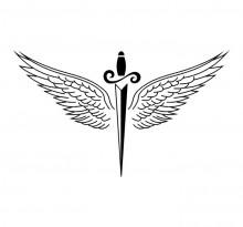 Распахнутые крылья и кинжал посередине (эскиз)