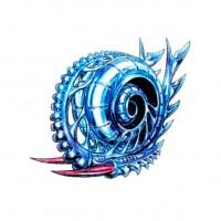 Синий биомеханический эскиз
