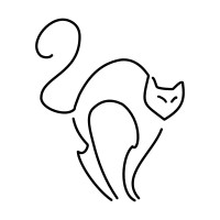 Тонкий эскиз тату кошки
