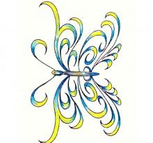 Желто-синий эскиз бабочки