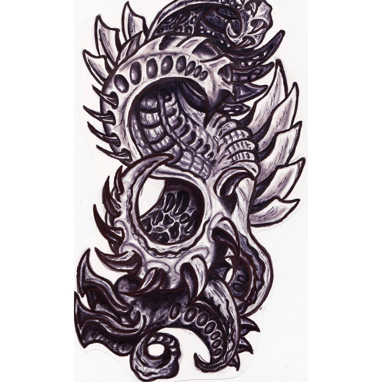 Эскиз биомеханической татуировки