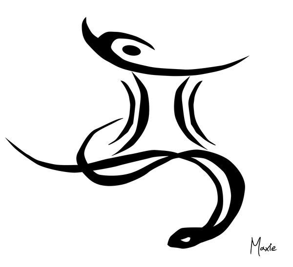 Эскиз символа Близнецов со змеей