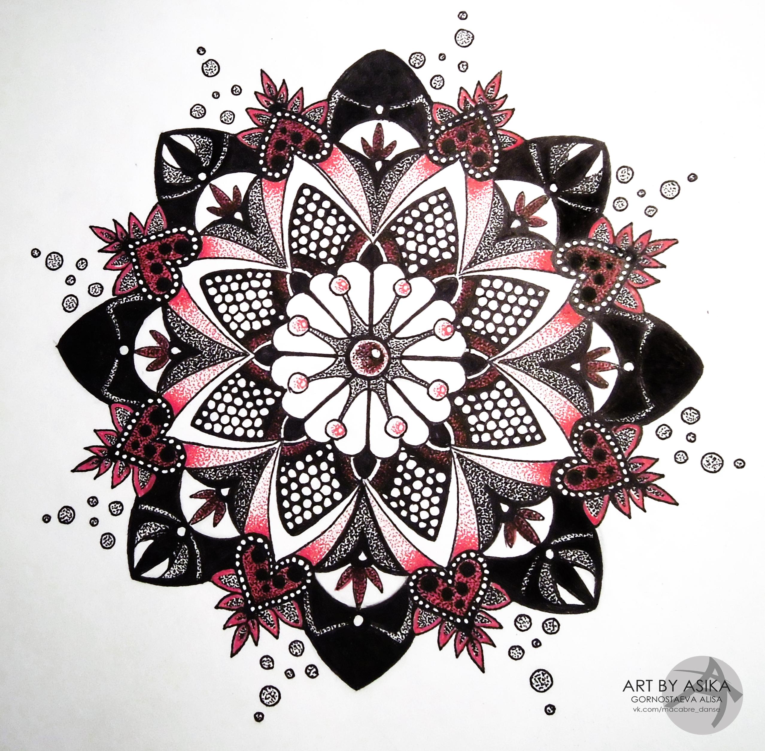 Красивый эскиз татуировки мандала в стиле дотворк
