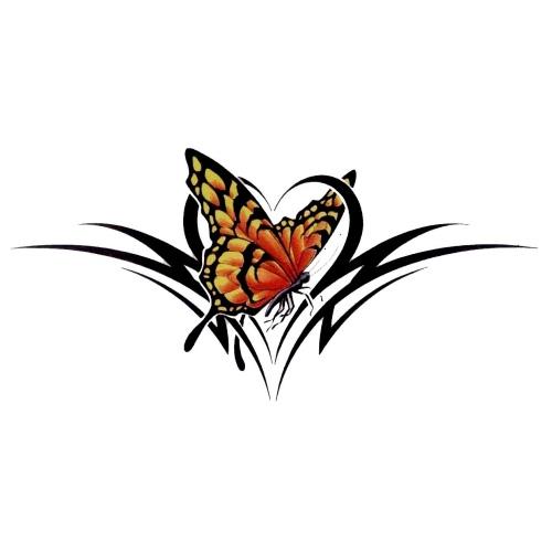 Желтоватая бабочка с трайбл узором (эскиз)