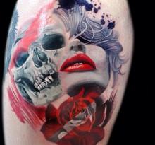 Татуировка в стиле треш полька