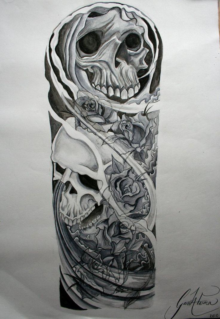 Эскиз татуировки с черепом на пол руки