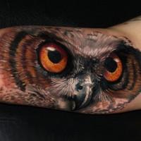 Глаза и клюв совы на бицепсе