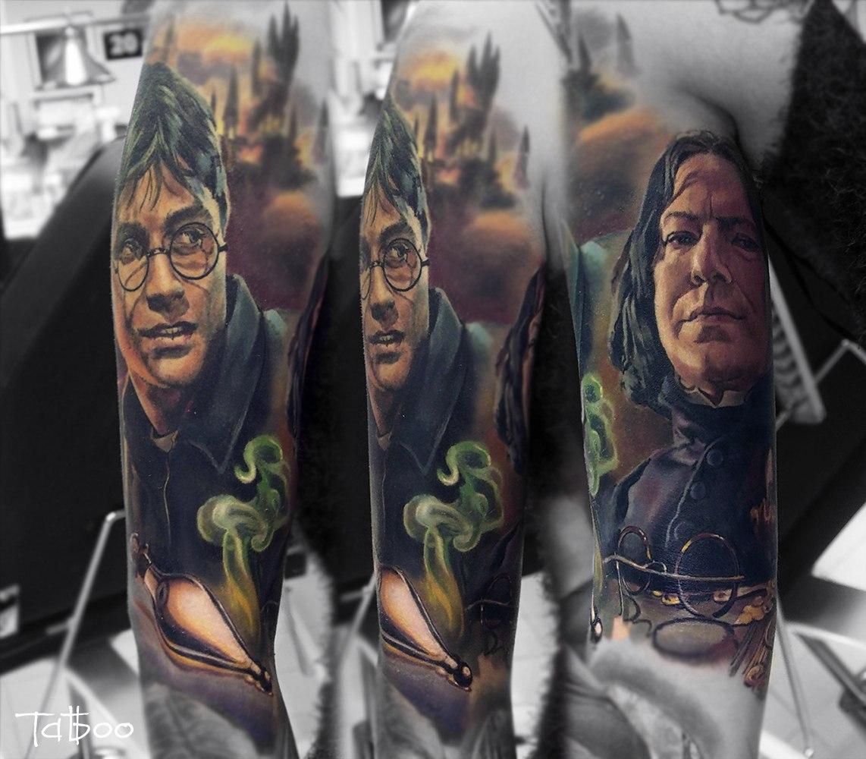 Фотореалистичная татуировка по фильму о Гарри Поттере