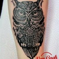 Черная татуировка филина