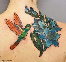 Колибри и синие цветы на спине