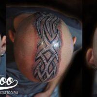 Трайбл татуировка на голове