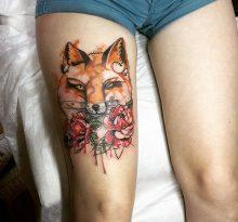 Голова лисы и цветы