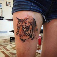 Голова тигра на ноге