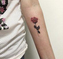 Маленькая роза на предплечье