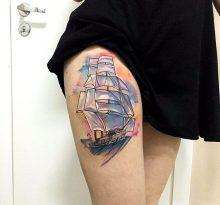 Парусный корабль в стиле акварель