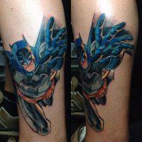 Татуировка Бэтмен на ноге