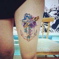 Якорь, бабочка и цветы в стиле акварель