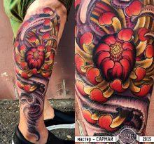 Хризантема и щупальца на голени
