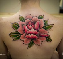Розовый цветок с зелеными листьями на спине