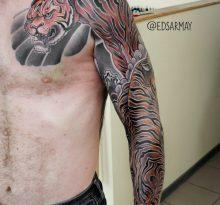 Тату рукав с тигром в японском стиле