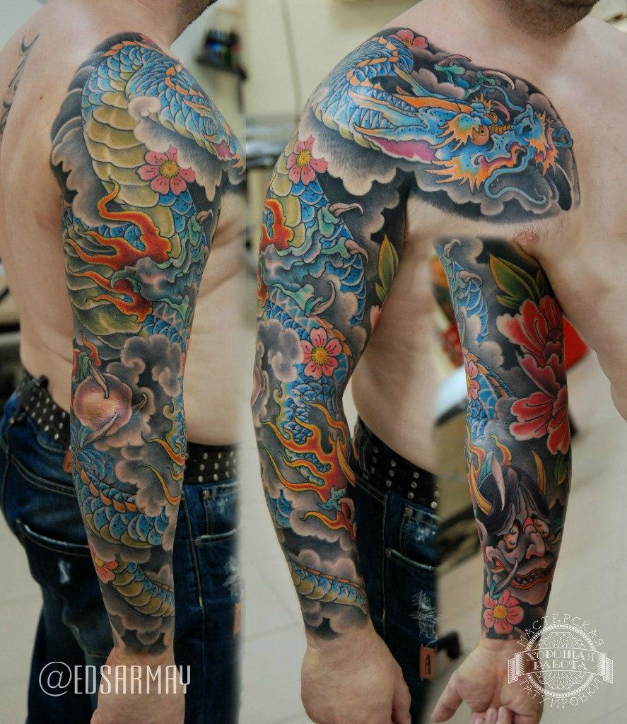 Тату рукав в японском стиле с драконом и цветами