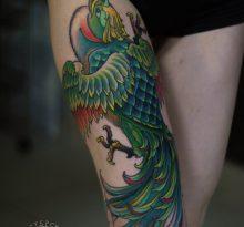 Зеленая птица на ноге