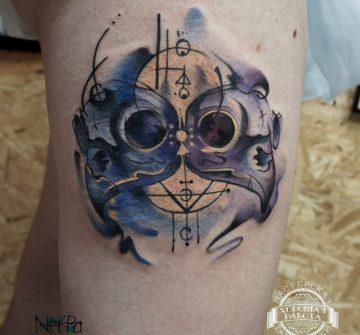 Абстрактная тату в стиле акварель