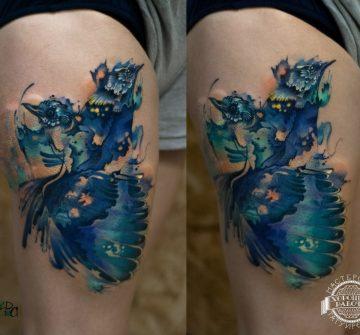 Синие птицы в стиле акварель